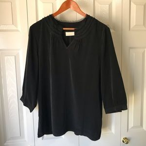 CHICO'S ♠️Black Blouse♠️ with pleated frayed neck